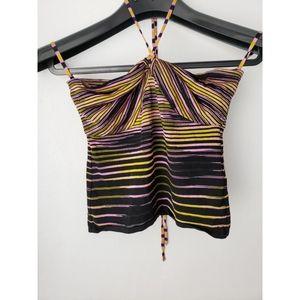 Missoni knit pink black stripe halter tube top